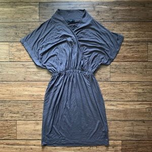 Grey Taupe Belted Waist Dolman Short Sleeve Dress
